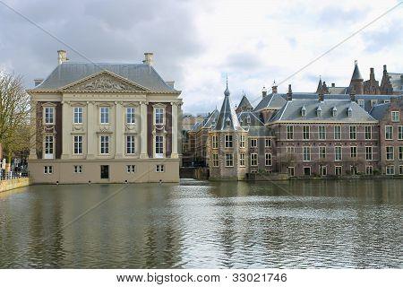 Binnenhof Palace In Den Haag,  Netherlands. Dutch Parlament Buildings