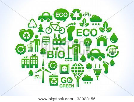 Eco world - set of green icons