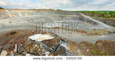 Abandoned mine - damaged landscape after ore mining.