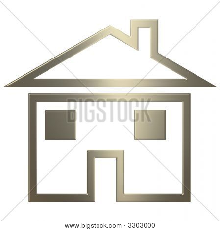 3D Gold Home Icon