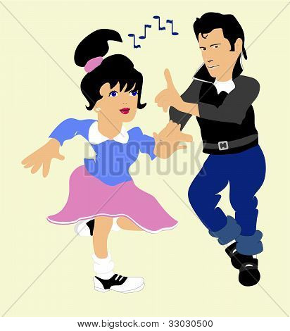 Boy and Girl doing a dance to the 50's Rock n' Roll..