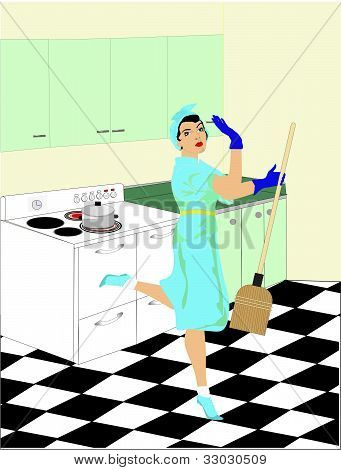 Cleaning lady from the 50's.
