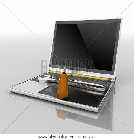 3d illustration of laptop with screwdriver and wrench