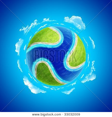 Mini planet concept. Rivers triquetra on green meadow. Earth collection.