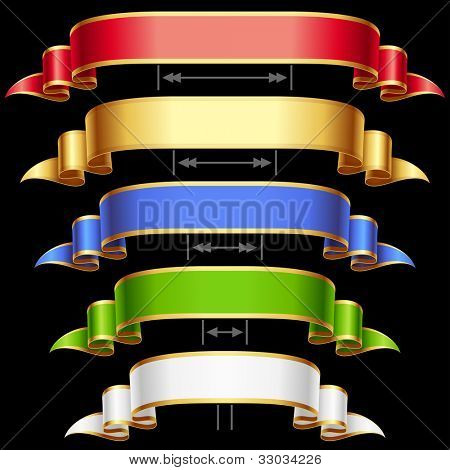 Ribbon set with adjusting length. Vector red, golden, blue, green and white frame isolated on background 4