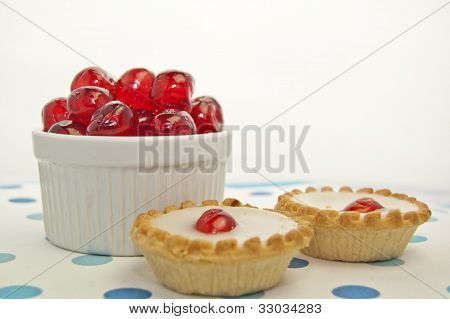 Cherry bakewells with glaced cherries