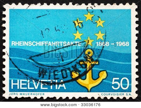 Postage stamp Switzerland 1968 Flag of Rhine Navigation Committe
