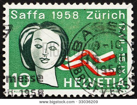 Postage stamp Switzerland 1958 Woman