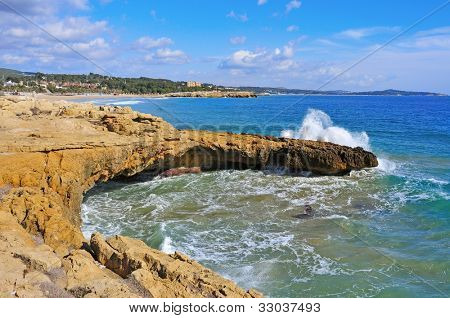 A view of the coast of Tarragona, Spain, and Arrabassada beach