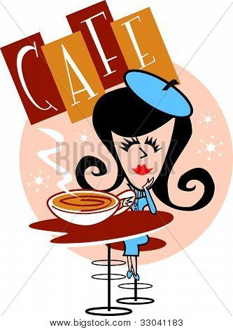 Girl in cafe or coffee house