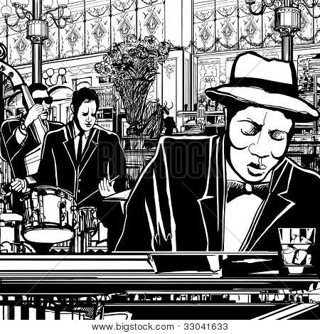 Illustration of a piano-Jazz band in a restaurant