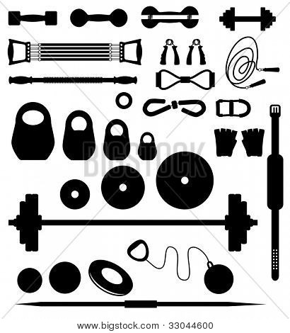 Set of silhouettes of the equipment for weightlifting