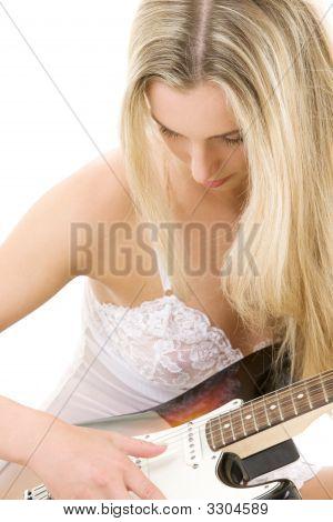 Guitar Girl In White Lingerie