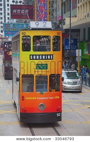 HONG KONG - DECEMBER 05: Unidentified people using city tram in Hong Kong on December 05, 2010. Hong Kong tram is the only system in the world run with double deckers and one of tourist attractions.