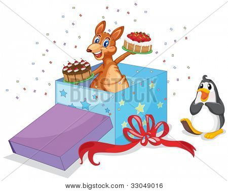 Kangaroo and penguin with cakes at Christmas - EPS VECTOR format also available in my portfolio.