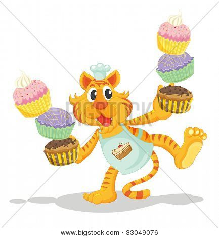 Tiger carrying cupcakes on white - EPS VECTOR format also available in my portfolio.