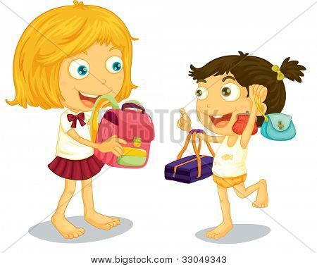 School children getting ready for school - EPS VECTOR format also available in my portfolio.