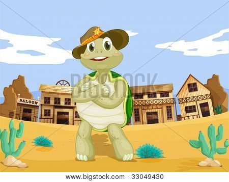 Turtle in a wild west town - EPS VECTOR format also available in my portfolio.