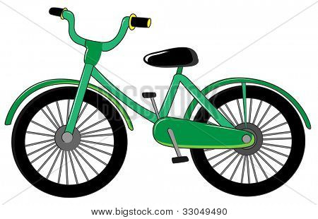 Illustration of small green bike on white - EPS VECTOR format also available in my portfolio.