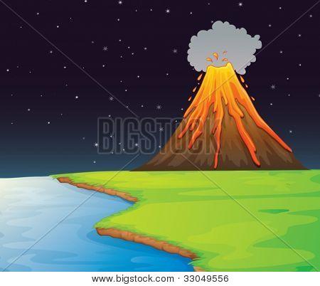 Ilustración del volcán en la distancia