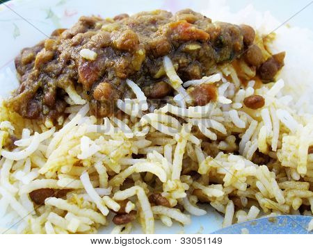 rice mixed with black beans