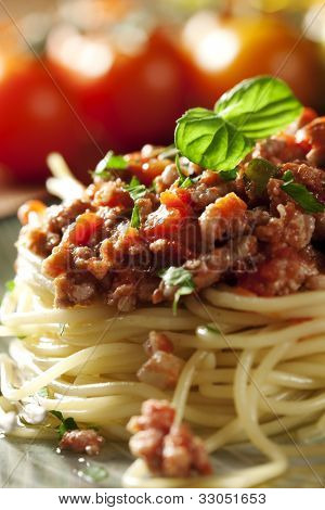 closeup of a fresh italian spaghetti bolognese