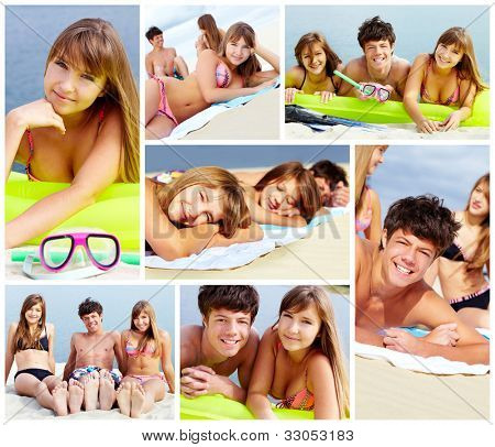 Collage of happy teens spending leisure on the beach on sunny day