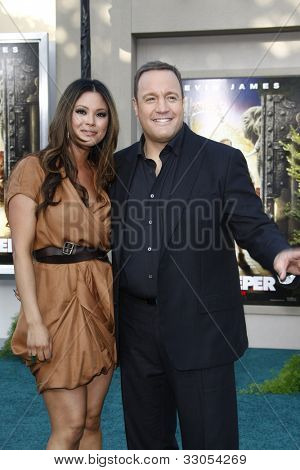 LOS ANGELES, CA - JULY 06:  Steffiana De La Cruz; Kevin James at the premiere of 'The Zookeeper' at the Regency Village Theatre on July 6, 2011 in Los Angeles, California