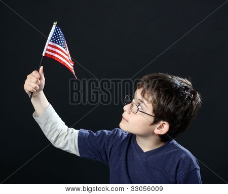 Boy With American Flag
