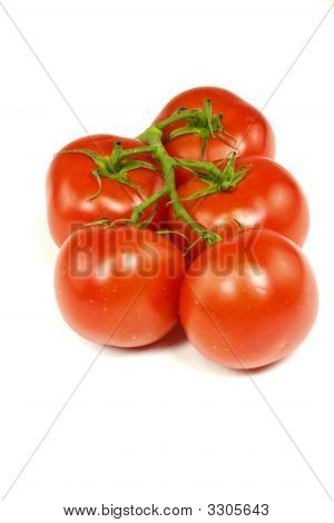 Red Ripe Tomatoes Isolated On White