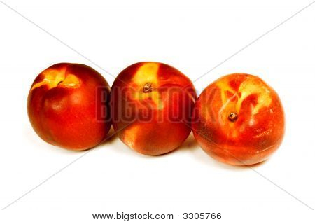 Nectarines On White