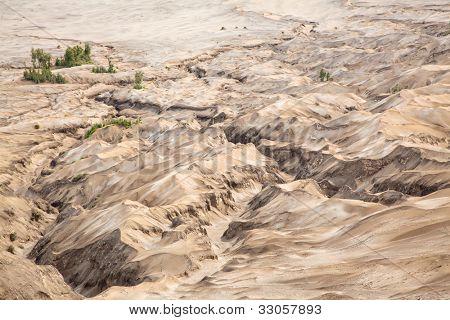 Cratera de deserto Duna montanha paisagem do vulcão de Bromo, Indonésia da ilha de Java do leste