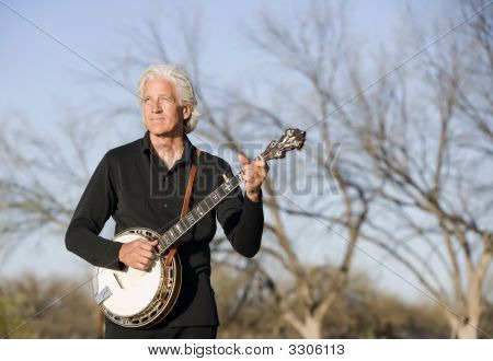 Banjo Player Outdoors