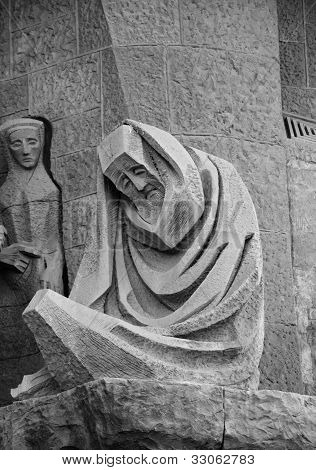 Sad man sculpture at Sagrada Familia