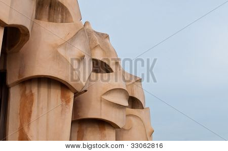 Casa Mila' - Chimney Detail - Barcelona, Spain.