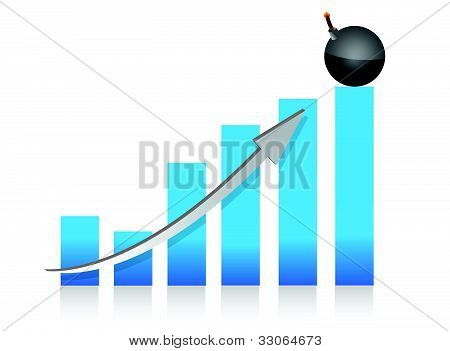 explosive profits graph illustration design over white back