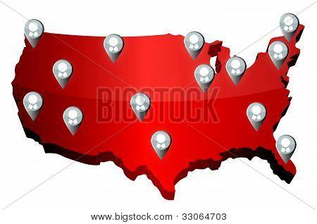 us social media networking map illustration design over white
