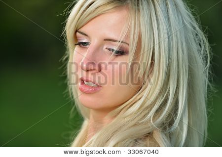 Monochrome Portrait Of A Pretty Woman Closeup.