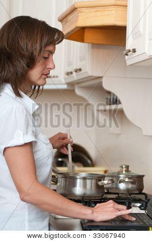 Multitasking - preparing meal and working