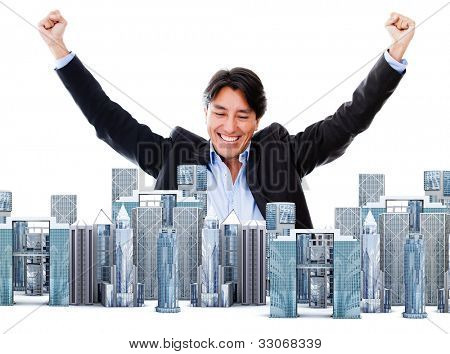 Business man enjoying his success in the big city - isolated over a white background