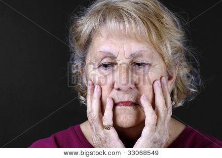 Detailed Portrait Of A Sad Senior Woman