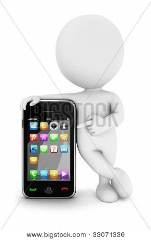 3d white people with a smartphone