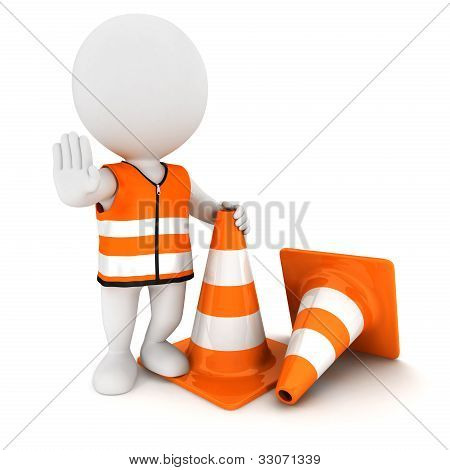 3d white people stop sign with traffic cones