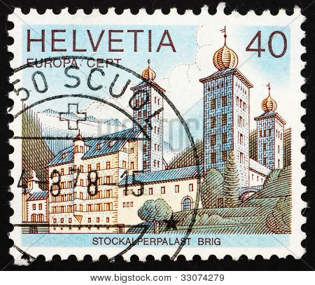 Postage stamp Switzerland 1978 Stockalper Palace, Brig, Switzerl