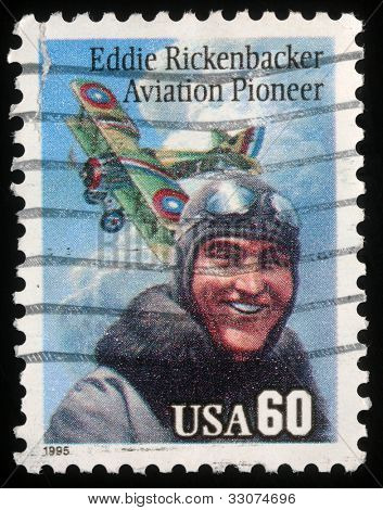 USA - CIRCA 1995: A post stamp printed in USA shows portrait of Aviation pioneer Eddie Rickenbecker, circa 1995