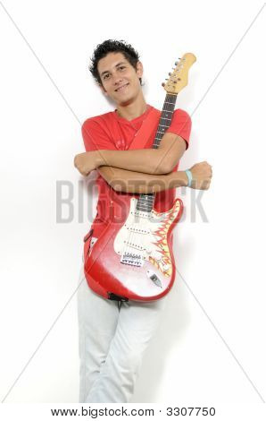 Young Musician With Electric Gitar