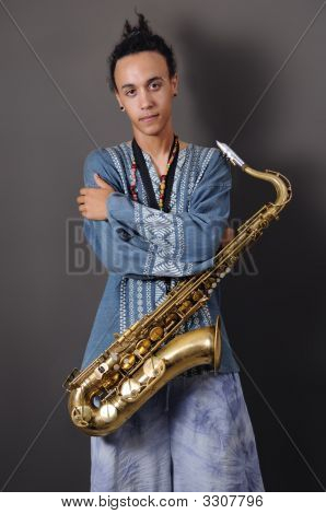Young Musician With Saxophone