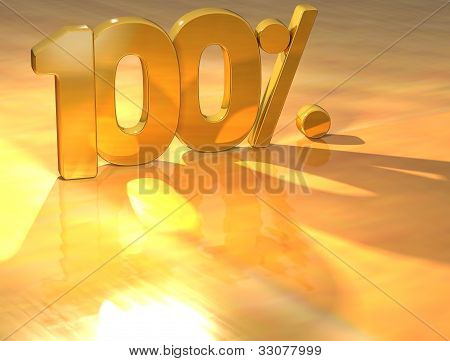 3D 100 Percent Gold Text