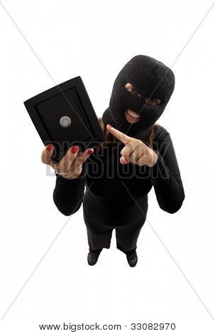Thief holding a safe isolated on white background