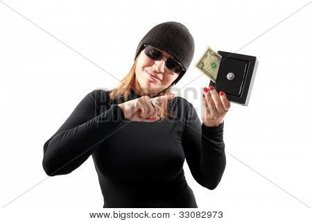 Thief girl isolated on white background